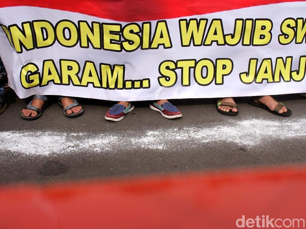 Petani Demo Tolak Impor Garam di Depan Istana