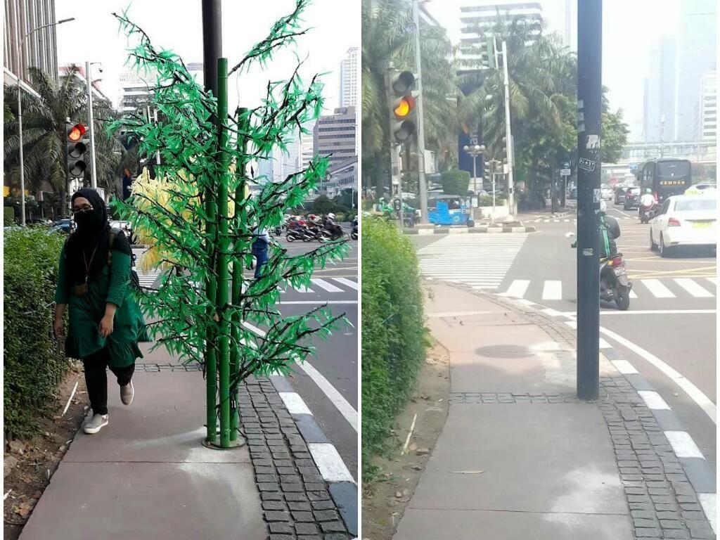 Foto: Before-After Pohon Imitasi di Trotoar Jakarta yang Bikin Heboh