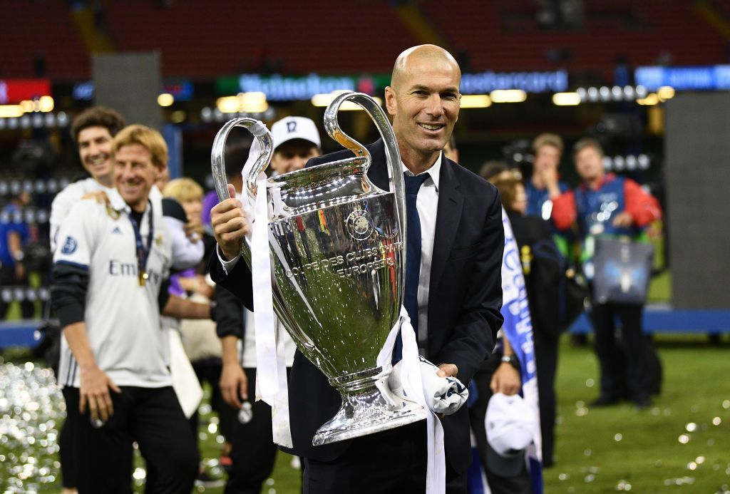 CARDIFF, WALES - JUNE 03: Zinedine Zidane, Manager of Real Madrid poses with the trophy after the UEFA Champions League Final between Juventus and Real Madrid at National Stadium of Wales on June 3, 2017 in Cardiff, Wales.  (Photo by David Ramos/Getty Images)