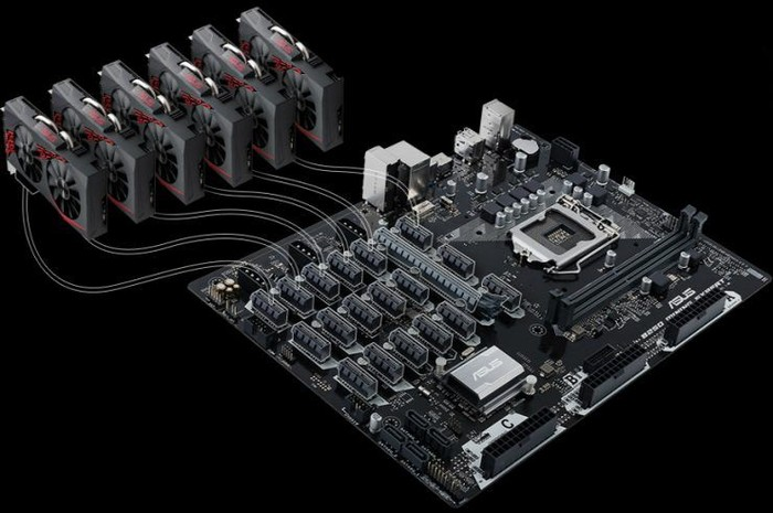 """Asus makes a special MotherBoard for Bitcoin and other Digital Currencies """"Miners""""."""