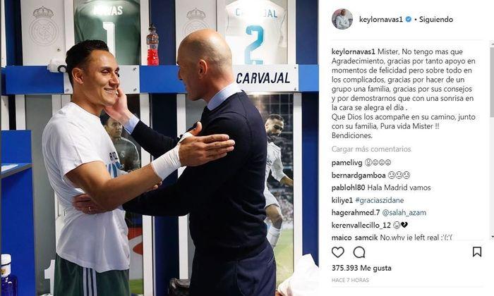 Para pemain Madrid memakai akun media sosial mereka untuk mengucapkan salam perpisahan kepada Zidane. Inilah salam perpisahan dari Keylor Navas. Foto: Instagram