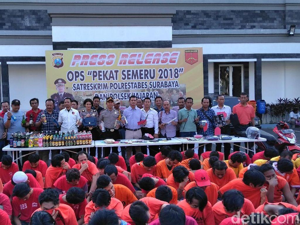 Operasi Pekat, Polisi Amankan 2.948 Tersangka di Surabaya