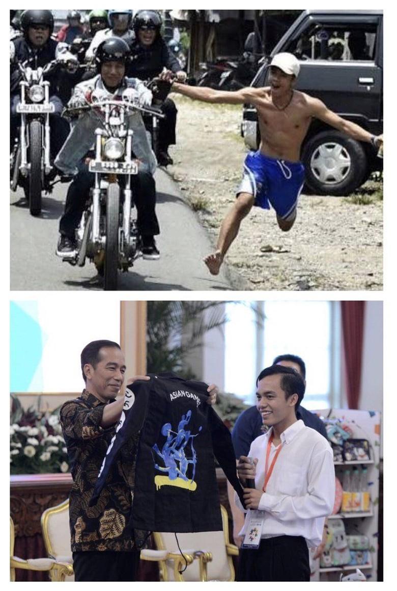 Momen Bona Pencolek Jokowi Dihadiahi Jaket Asian Games di Istana