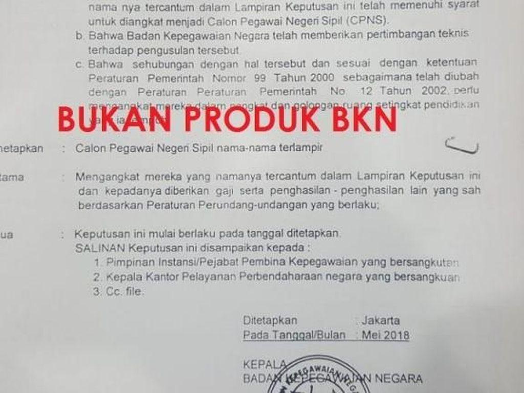 Awas! Surat Palsu Pengangkatan CPNS Kembali Beredar