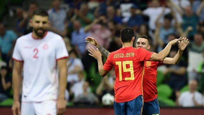 Timnas Spanyol di laga uji coba sebelum Piala Dunia 2018 (Foto: PIERRE-PHILIPPE MARCOU/AFP)