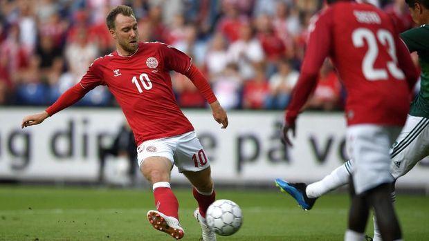 Pemain timnas Denmark Christian Eriksen, di Broendby Stadium, Copenhagen, Denmark, 9 Juni.