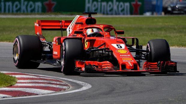 Sebastian Vettel mampu mempertahankan posisi start terdepan hingga finis di F1 GP Kanada. (