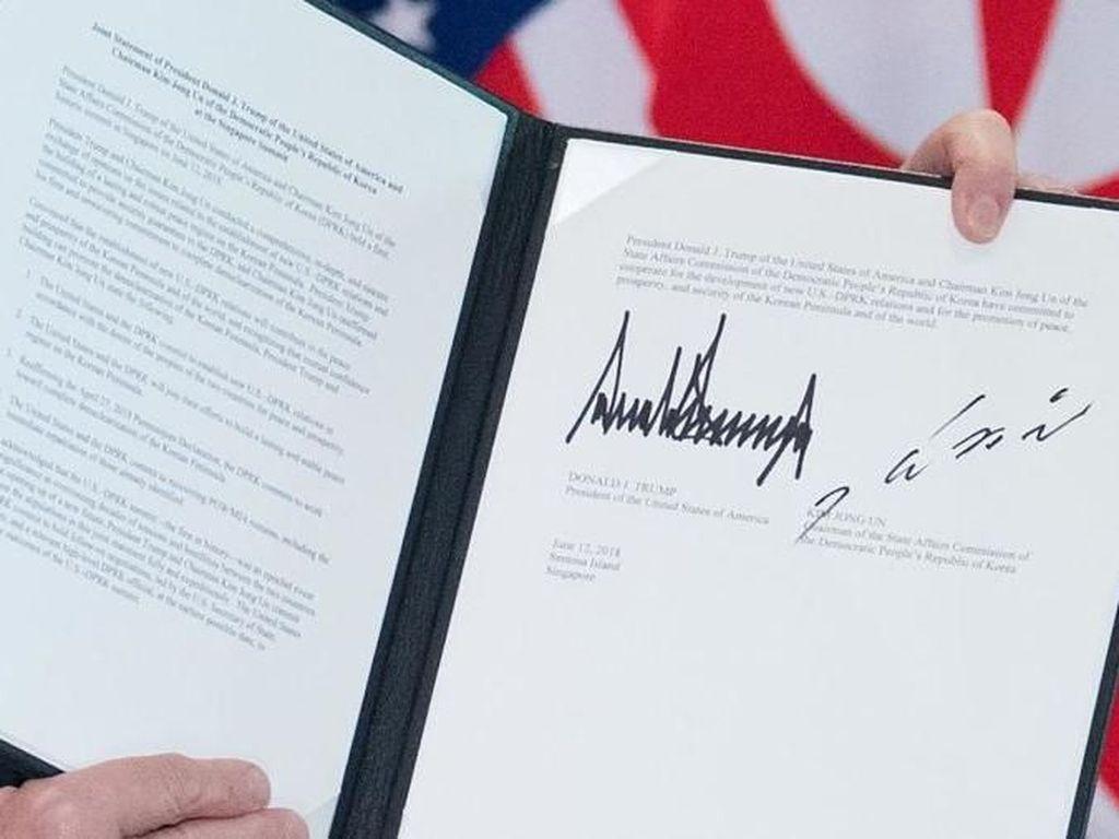 Melihat Tanda Tangan Kim-Trump di Pernyataan Bersama Usai KTT