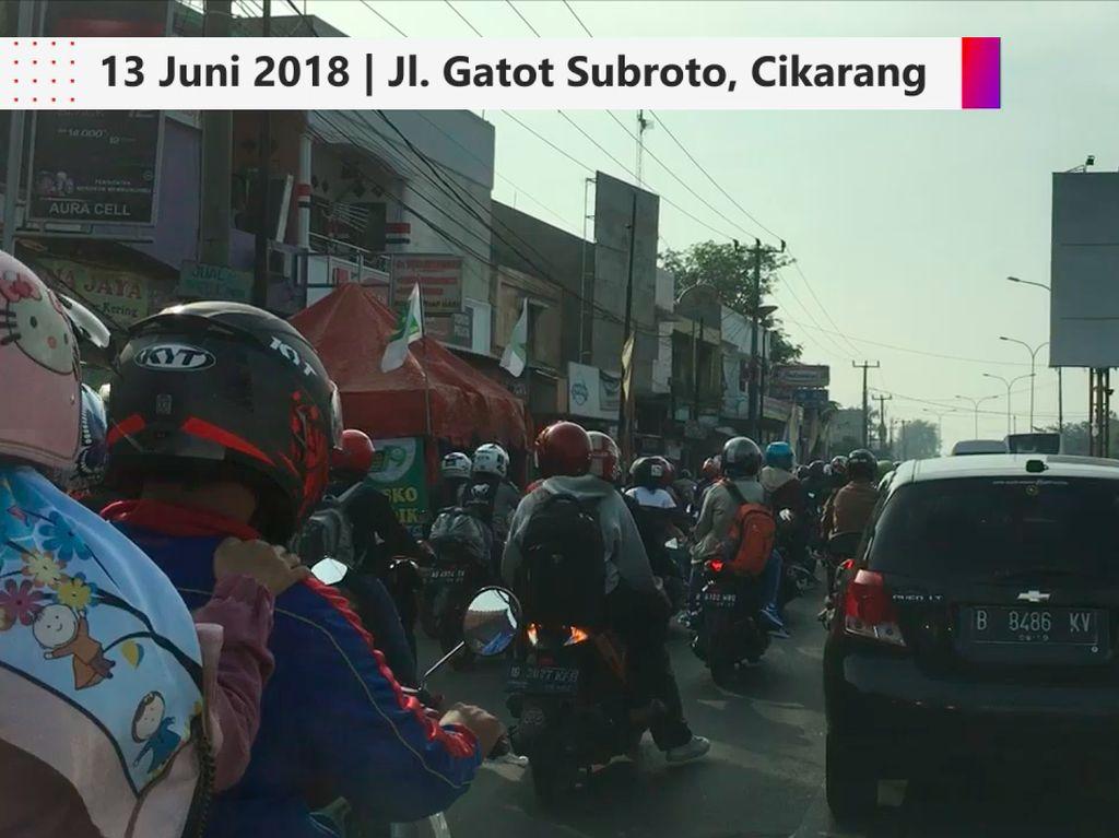 Video Kepadatan Jalan Gatot Subroto Cikarang Pagi Ini