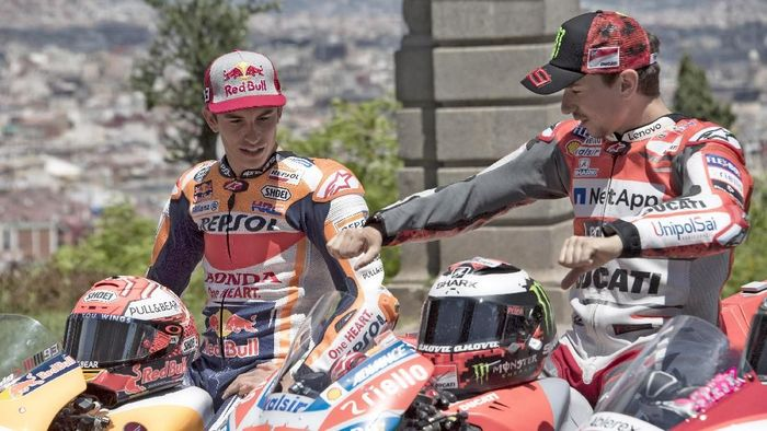 Marc Marquez dan Jorge Lorenzo. (Foto: Mirco Lazzari gp/Getty Images)