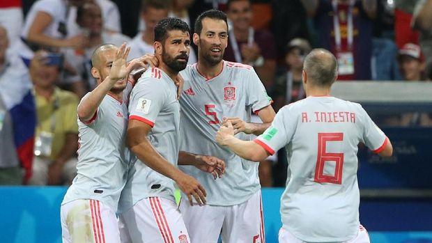 Timnas Spanyol sempat membukukan keunggulan berkat dua gol Diego Costa dan satu gol Nacho.