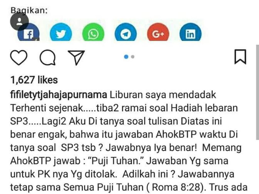 Respon Ahok Soal SP3 Habib Rizieq : Puji Tuhan!