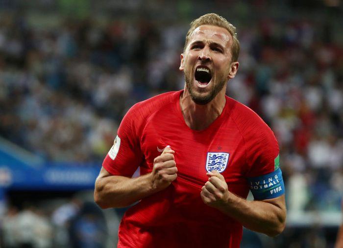Bertanding di Volgograd Arena, Volgograd, Selasa (19/6/2018) dini hari WIB, Inggris unggul lebih dulu lewat gol Kane di menit ke-11. REUTERS/Sergio Perez.