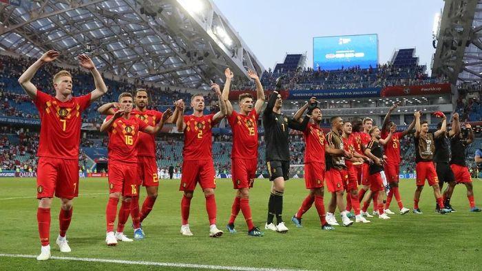Para pemain Belgia melakukan perayaan usai menang atas Panama. (Foto: Marcos Brindicci/Reuters)