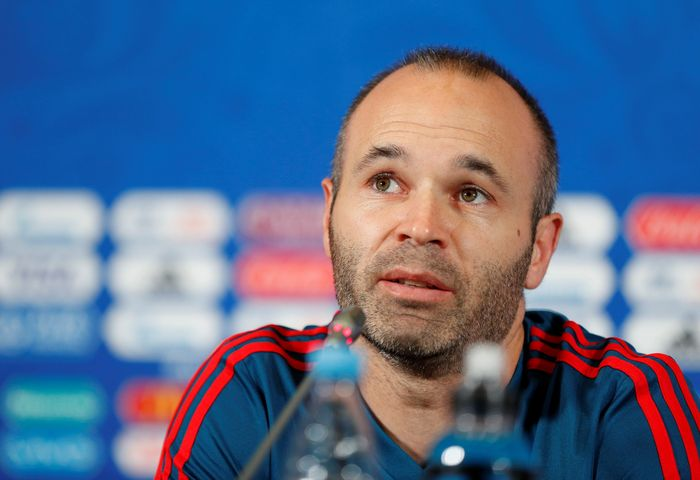 Soccer Football - World Cup - Spain Press Conference - Kazan Arena, Kazan, Russia - June 19, 2018   Spains Andres Iniesta during the press conference   REUTERS/John Sibley