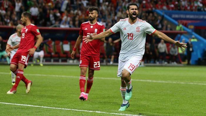 Diego Costa mencetak gol kemenangan Spanyol 1-0 atas Iran di laga kedua Grup B Piala Dunia 2018. (Foto: Francois Nel/Getty Images)