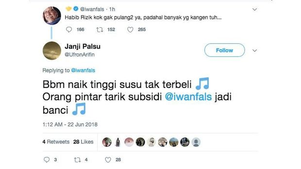 Tweet Iwan Fals langsung diserang netizen.