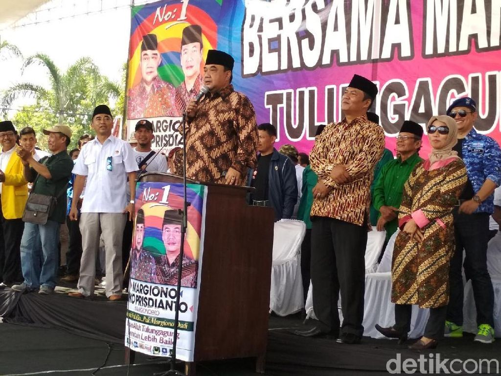 Kampanye Akbar, Cabup Tulungagung Margiono Sindir Korupsi Paslon Lain