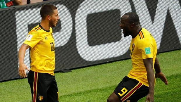 Eden Hazard dan Romelu Lukaku mencetak masing-masing dua gol di laga ini.