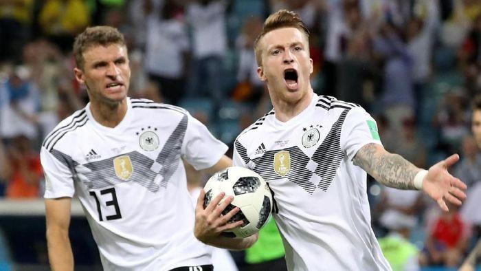 Marco Reus menjadi pencetak gol pertama Jerman di Piala Dunia 2018 (Foto: Francois Lenoir/Reuters)