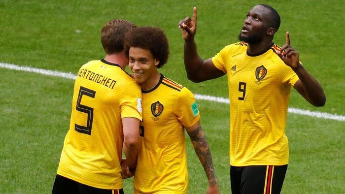 Romelu Lukaku menyumbangkan dua gol untuk Belgia pada laga melawan Tunisia (Foto: Kai Pfaffenbach/Reuters)