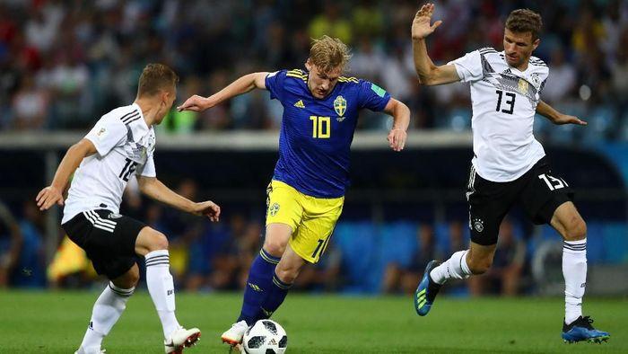 Jerman untuk sementara tertinggal 0-1 dari Swedia di babak pertama laga Grup F Piala Dunia 2018. (Foto: Dean Mouhtaropoulos/Getty Images)