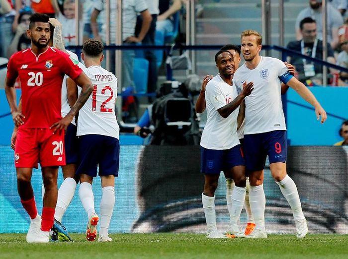 Perayaan timnas Inggris usai menjebol gawang Panama. (Foto: Murad Sezer/Reuters)