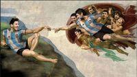 Lukisan Lionel Messi dan Diego Maradona yang terinspirasi karya Michelangelo