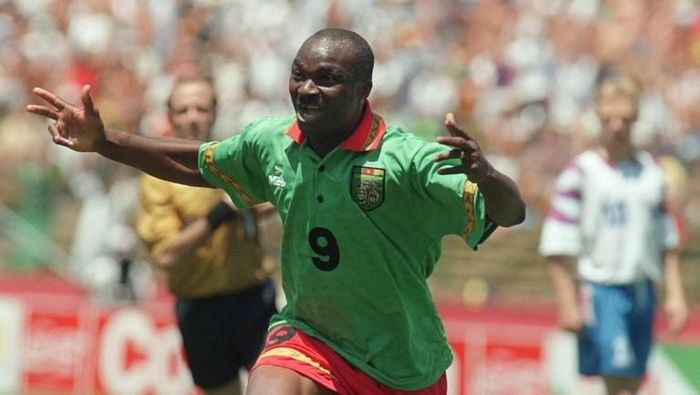 Cameroons forward Roger Milla celebrates after scoring a goal against Russia 28 June 1994 at Stanford stadium in San Francisco during their Soccer World Cup match. At age 42, Roger Milla became the oldest player ever to score a goal in World Cup history, but could not help his team as Russia won 6-1 with forward Oleg Salenko, scoring a record 5 goals. AFP PHOTO/ANTONIO SCORZA / AFP PHOTO / ANTONIO SCORZA