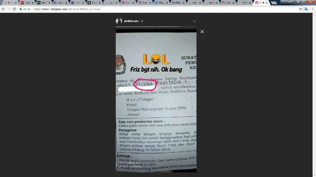 Surat pemberitahuan pemungutan suara milik Frieska salah nama.