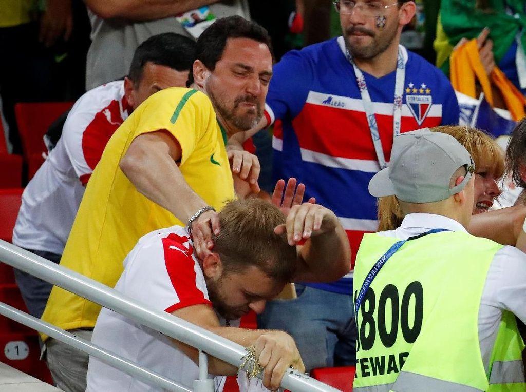 Heboh Pertandingan Brasil vs Serbia, Suporter Ricuh di Bangku Penonton