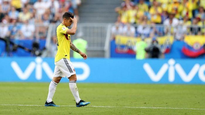 Bintang Kolombia James Rodriguez cedera di laga melawan Senegal. (Foto: Michael Steele/Getty Images)