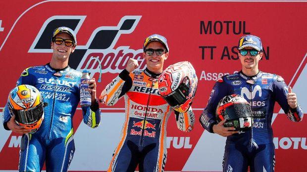 Marc Marquez mengalahkan Alex Rins dan Maverick Vinales di MotoGP Belanda musim lalu.