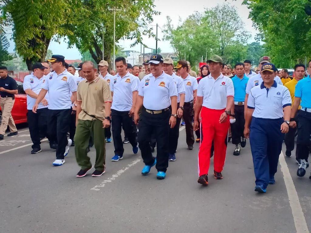HUT Bhayangkara, Polda Kalsel Gelar Olahraga Bareng TNI dan Warga