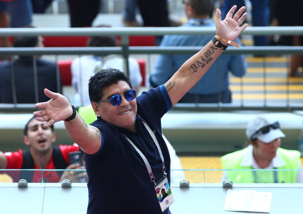 Soccer Football - World Cup - Round of 16 - France vs Argentina - Kazan Arena, Kazan, Russia - June 30, 2018  Diego Maradona gestures while in the stands at half time  REUTERS/Pilar Olivares