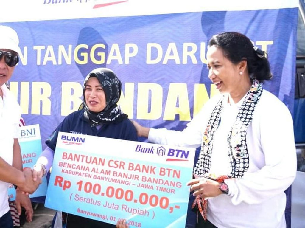 BTN dan Menteri Rini Bantu Borban Banjir Banyuwangi