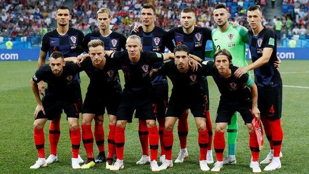 Timnas Kroasia saat melawan Denmark di babak 16 besar Piala Dunia 2018.