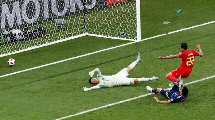 Nacer Chadli menjadi pencetak gol penentu kemenangan Belgia atas Jepang melalui skema serangan balik yang brilian (Murad Sezer/REUTERS)
