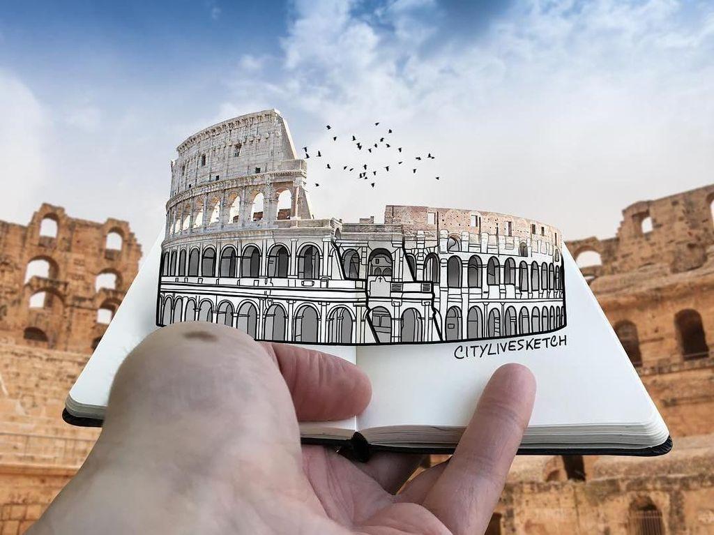 Kreatif! Traveler Ini Gabungkan Coretan & Landmark Dunia