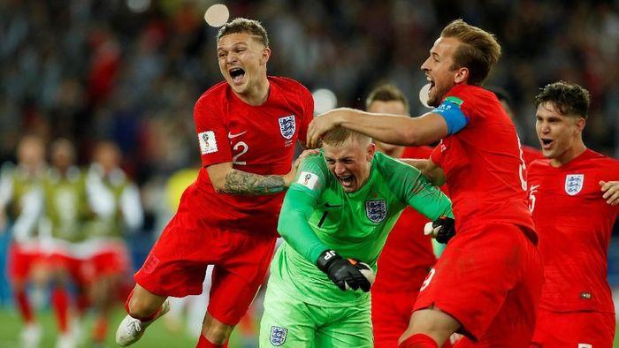 Inggris lolos ke perempatfinal Piala Dunia 2018 setelah menang adu penalti atas Kolombia (Foto: Reuters)