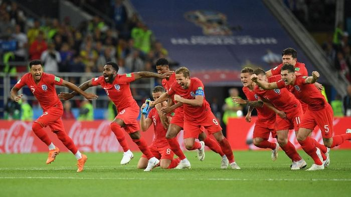 Inggris lolos ke perempatfinal Piala Dunia 2018 setelah mengalahkan Kolombia lewat adu penalti (Foto: Matthias Hangst/Getty Images)