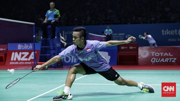 Anthony Sinisuka Ginting saat tampil di Indonesia Open 2019. (