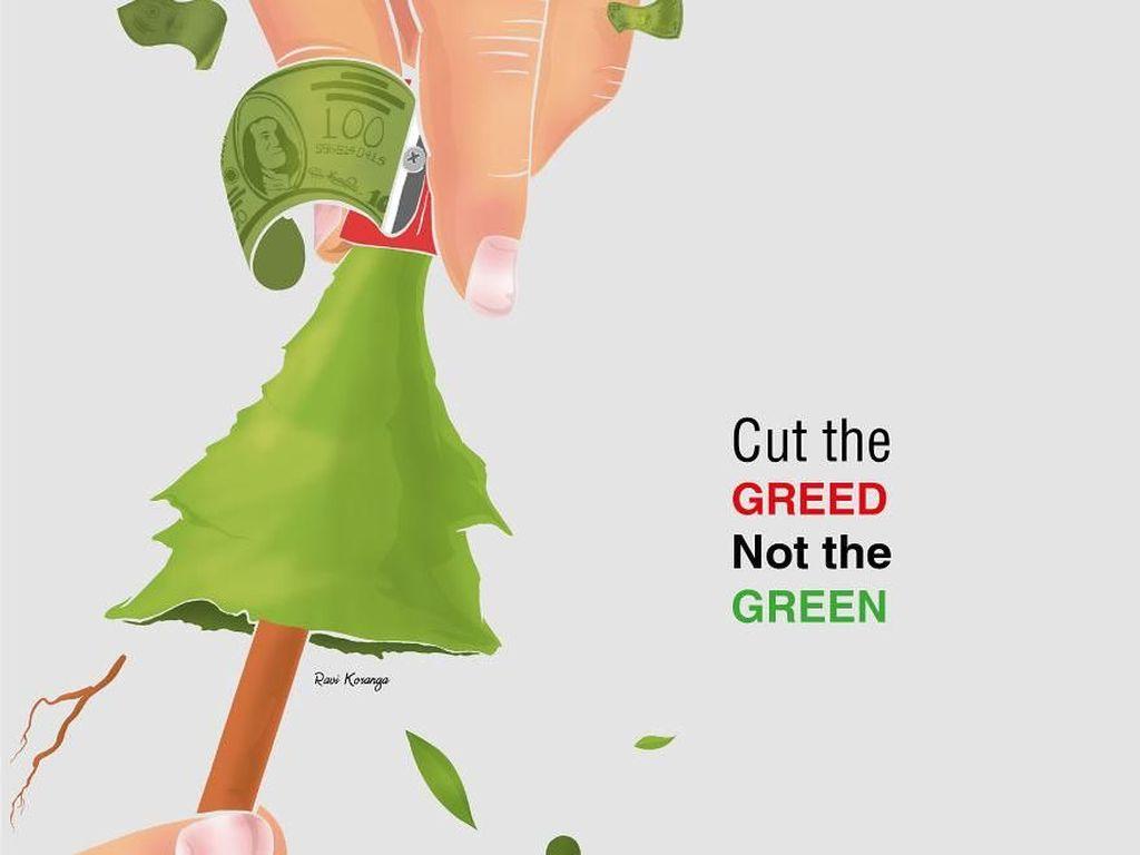 Seniman Ini Ciptakan Poster Unik Dampak Deforestasi