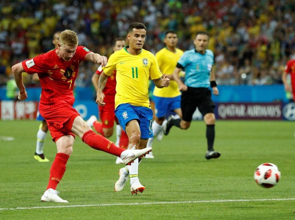 Seru di Babak Pertama, Belgia Sementara Ungguli Brasil 2-0