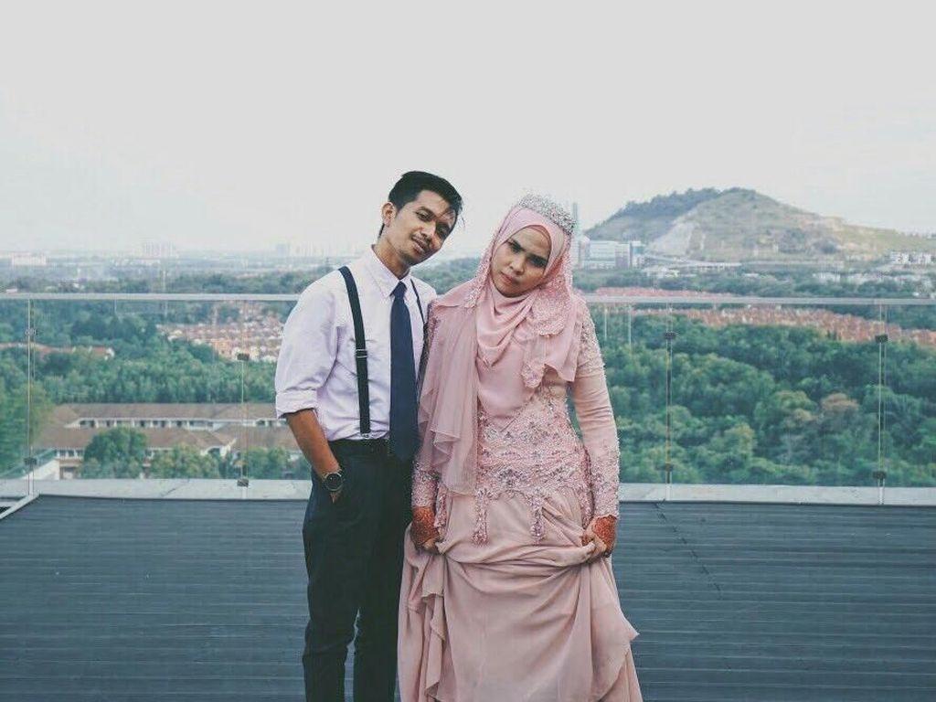 Pria Ini Punya Cara Kocak Agar Terlihat Lebih Tinggi Saat Prewedding
