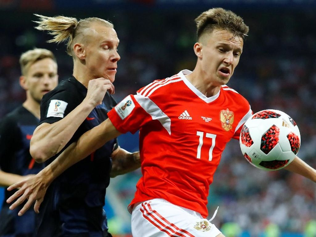 Rusia vs Kroasia Sama Kuat 1-1 di Babak Pertama