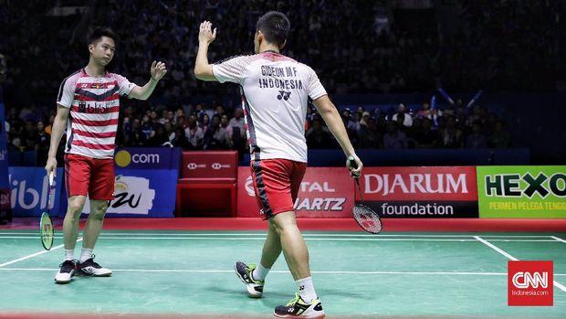 Marcus/Keviin juara Indonesia Open usai mengalahkan ganda putra Denmark,