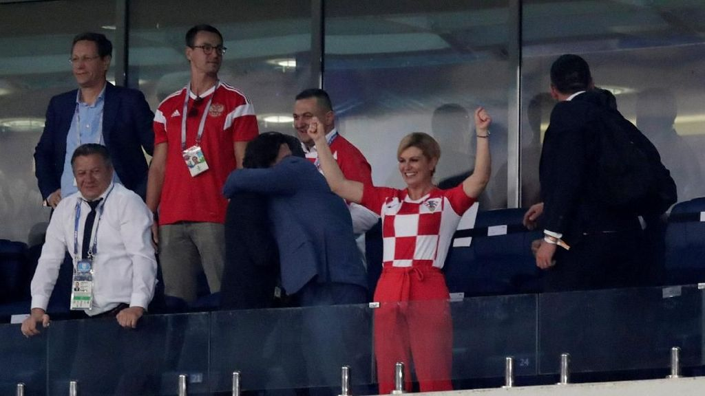 Ekspresi Presiden Kroasia Saat Timnas Kalahkan Rusia di Piala Dunia