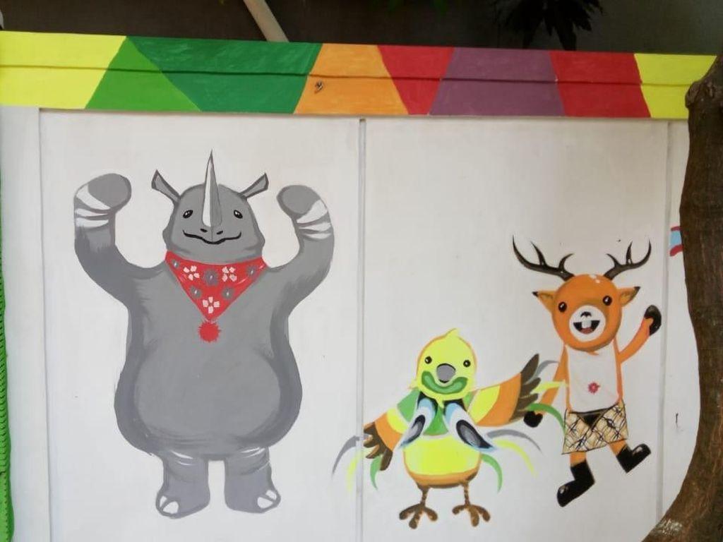 Mural Bertemakan Asian Games Hiasi Tembok di Kawasan Ancol