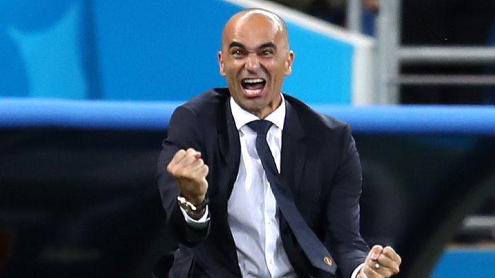 ROSTOV-ON-DON, RUSSIA - JULY 02:  Roberto Martinez, Head coach of Belgium celebrates after his teams third goal during the 2018 FIFA World Cup Russia Round of 16 match between Belgium and Japan at Rostov Arena on July 2, 2018 in Rostov-on-Don, Russia.  (Photo by Catherine Ivill/Getty Images)
